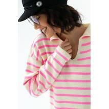 Fame Кофта в полоску с воротником рубашечного типа - розовый цвет, S