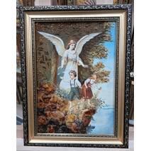 """Икона из янтаря в детскую комнату """"Ангел и дети"""" 20х30 см без стекла"""