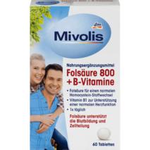Folsaure 800 + B-Vitamine, Tabletten 60 шт., 19 гр комплекс вітамінів для підтримки імунної системи.