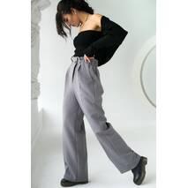 PERRY Вільні брюки прямого крою на гумці - сірий колір, M