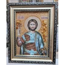 """Именная икона из янтаря """"Святой Виктор"""" 15х20 см без стекла"""