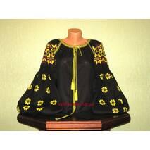 вишиванка жіноча бохо на чорному льоні