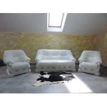 классический гарнитур на дубе, кожаная мягкая мебель дуб