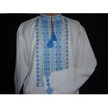мужская вышитая рубашка ручной работы  с голубым орнаментом