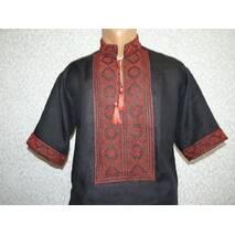чоловіча вишита сорочка з червоним орнаментом на чорному льоні