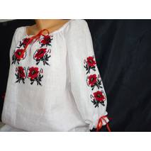 вышиванка женская белая с маками