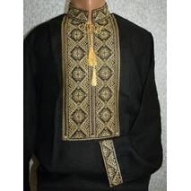 Чоловіча вишита сорочка  на чорному льоні