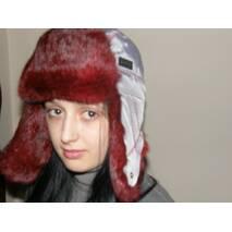 12. Меховая шапка ушанка женская (красный мех)