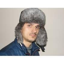 1. Чоловіча хутряна шапка з кролика (сіра)