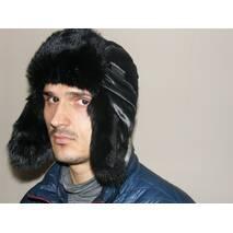 3. Чоловіча шапка з штучного хутра кролика (чорна)