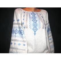 сорочка жіноча вишита на сірому льоні
