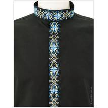 Современна рубашка с игривой вышивкой в национальных цветах