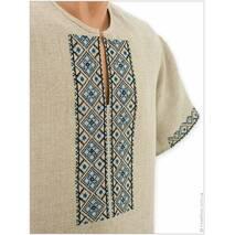 Летняя мужская вышиванка из серого льна с прикарпатской вышивкой