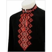 Черная вышиванка изо льна в красно-белой гамме с узором «Богатыри»