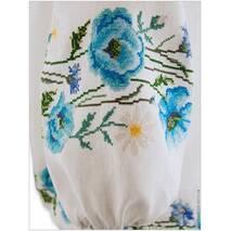 Женская льняная вышиванка, щедро расшитая голубыми маками