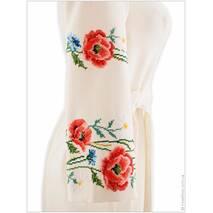 Утонченное платье делового кроя, щедро расшитое маками