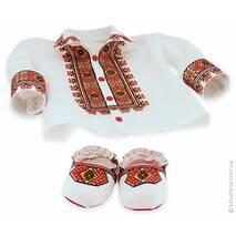 Детские хлопковые пинеточки с цветастой гуцульской вышивкой