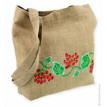 Льняная натуральная сумка с красочной вышивкой калины