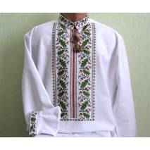 рубашка мужская вышитая Дуб  в зеленом цвете
