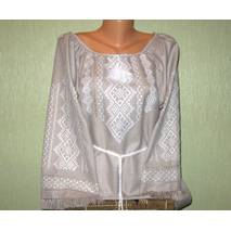 платье вышитое ручной работы на льне с белой вышивкой