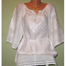 вишиванка жіноча вишита білим шовком на білому льоні