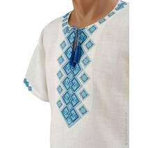 Вишиванка з коротким рукавом з богатирським орнаментом у синій гамі