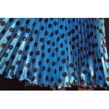 Спідниця плісе стрейч-атлас середня довжина, горох середній електрик синій