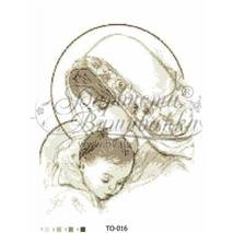 TO016ан3545  Мария с ребенком бежевая 35 см x 45 см