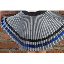 Спідниця плісе-гофре для дівчинки сірий габардин-меланж із стрічками