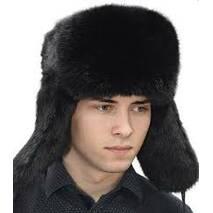 Зимова шапка из кролика,черна