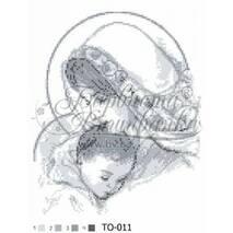 TO011ан2535  Мария с ребенком серая 25 см x 35 см