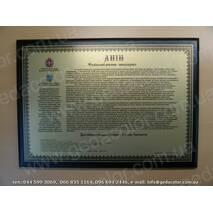 Пам'ятний диплом на металі