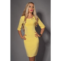 Приталена сукня із замком на спині жовта