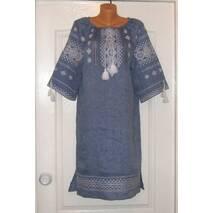 Вышитое платье ручной работы на джинс-льне