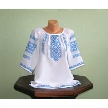 Рубашка вышитая женская с голубым орнаментом ручной работы