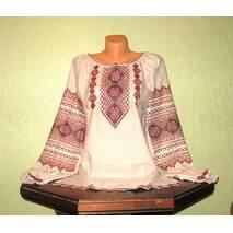 Автэнтичная украинская рубашка, вышитая на сером полотне, ручной работы