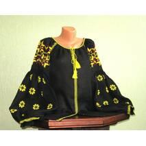 Женская вышиванка на черном льне с желтым узором ручной работы