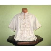 Рубашка мужская на сером полотне вышитая ручной работы