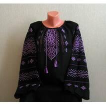 Рубашка с черного льна вышитая крестиком ручной работы