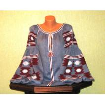 Вышиванка женская ручной работы на лен-джинсе с широкими рукавами