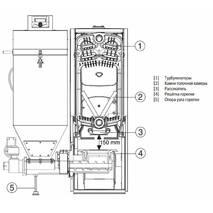 Котел чавунний твердопаливний Bosch з автоподачей палива, деревини, вугілля, тріски, 25 кВт