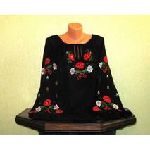 Женская рубашка вышитая на черном шифоне ручной работы
