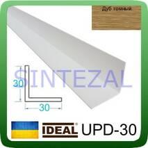 Декоративный пластиковый уголок IDEAL, L-2,7 м. 30 х 30, Дуб тёмный