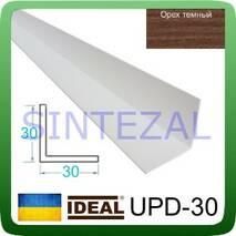 Декоративный пластиковый уголок IDEAL, L-2,7 м. 30 х 30, Орех тёмный