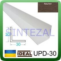 Декоративный пластиковый уголок IDEAL, L-2,7 м. 30 х 30, Каштан