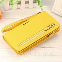 Жовтий гаманець клатч портмоне Baellerry Italia Classic і сережки-кульки в подарунок