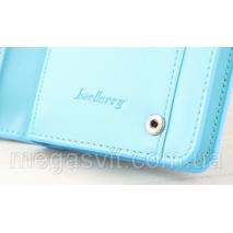 Блакитний клатч Baellerry Italia Classic (портмоне, гаманець) і в подарунок сережки