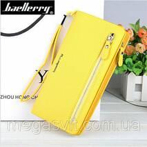 Клатч для жінок Baellerry Italia Classic (портмоне, гаманець) Жовтий і сережки в подарунок