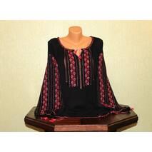 Женская рубашка большого размера с красной вышивкой на черном шифоне, ручная работа