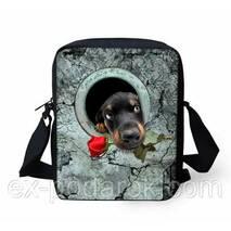 Оригінальна 3d сумка собачка з трояндою.